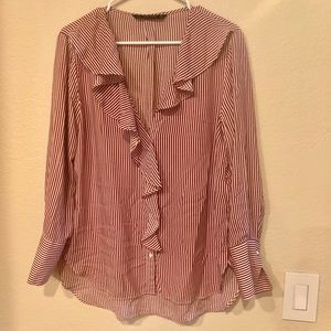 Zara Shirt in white and red stripes